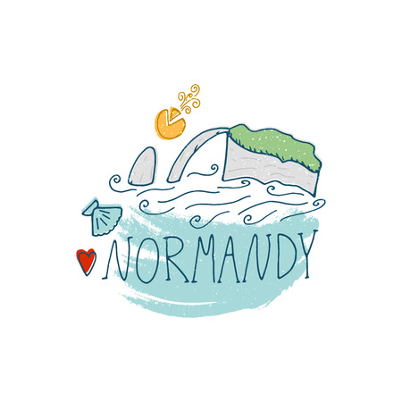 Normandy cartoon hand drawn illustration. Cute Travel concept