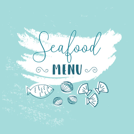 Hand Drawn Doodle Sketch Seafood illustration. Nautical background for seafood or fish restaurants, bars, markets or festivals. Vector template Stock Illustratie