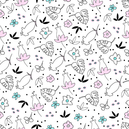 Cute Floral Seamless Pattern  イラスト・ベクター素材
