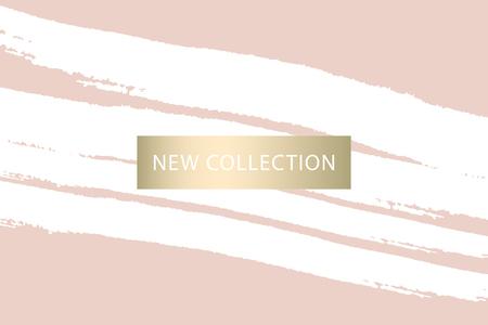 Satz neue Kollektion Mode-Header. Gold und Pastell erröten. Elegant mit handgezeichneter Pinselstruktur in Pastell. Ideal für Werbung, soziale Medien, Web, Blog, Flyer, Poster, Broschüre, Einladung, Cover