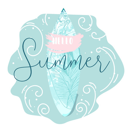 Cute hand drawn vector Summer illustration with surf board with tropical floral texture on pastel blue ocean background and grunge brush stroke textures. Hello Summer