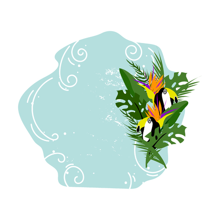 Cute vector Summer illustration collage with toucan bird, strelizia flower, palm leaves and calligraphic text on seascaped pastel blue background