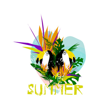 Cute vector Summer illustration collage with toucan bird, strelizia flower, palm leaves and calligraphic text on seascaped shape of heart background. Tropical summer