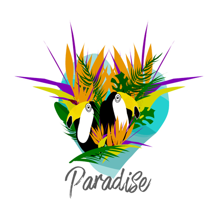 Tropical cartoon minimal jungle illustration with toucan bird, palm leaves, exotic strelizia flowers. Vector. Isolated. Modern background for invitation, header, cover, apparel, poster, flyer web