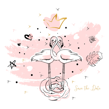 Tropical hand drawn flamingo illustration design in pastel pink with trendy hipster decoration elements. Modern print for wedding, invitations, greeting card, header, Valentine s day, anniversary, web
