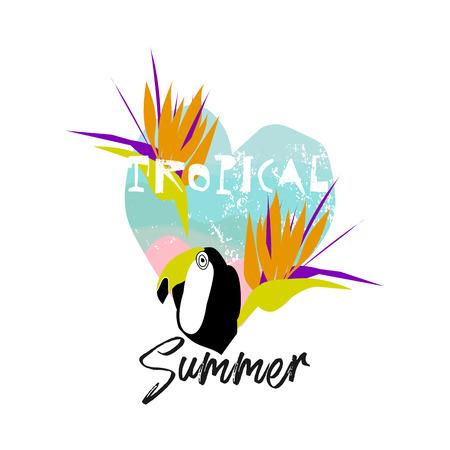 Ilustración de selva mínima de dibujos animados tropicales con pájaro tucán, hojas de palmera, flores exóticas de strelizia. Vector. Aislado. Fondo moderno para invitación, encabezado, portada, ropa, póster, volante web Ilustración de vector