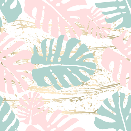 Tropical Worn Floral pastel pattern with monstera palm leaves for wallpaper, textile, flooring, interior design, wedding invitation, fashion banners. Trendy print for your design made in vector