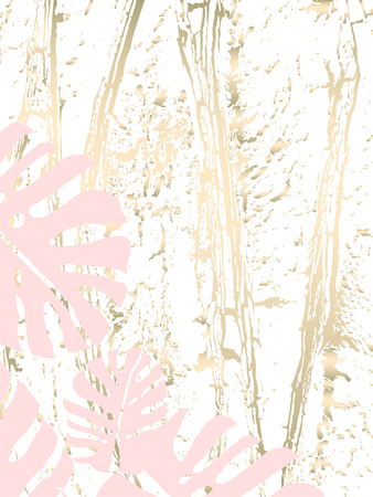 Tropical Worn Floral pastel gold pattern with monstera palm leaves for wallpaper, textile, flooring, interior design, wedding invitation, fashion banners. Trendy print for your design made in vector Çizim