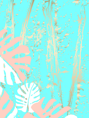 Tropical Worn Floral pastel gold pattern with monstera palm leaves for wallpaper, textile, flooring, interior design, wedding invitation, fashion banners. Trendy print for your design made in vector Banco de Imagens