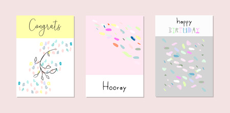 Set of artistic hand drawn creative greeting cards with different brush paints, sketch doodle drawing elements. Trendy background for baby shower, invitation, birthday, wedding, anniversary, party Çizim