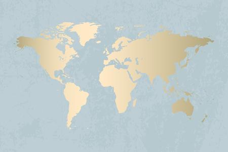 Modern gold world map design on grunge pastel abstract texture. Vector Trendy design