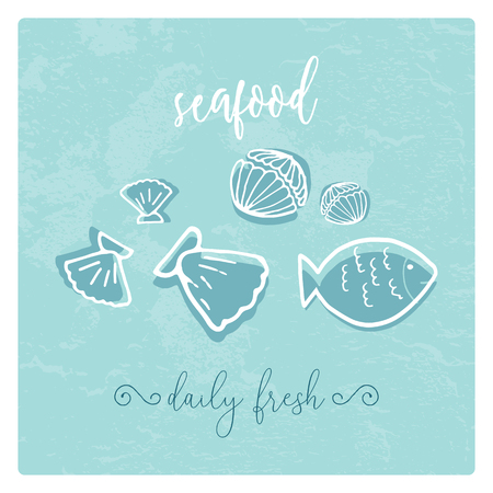 Hand Drawn Doodle Sketch Seafood illustration. Nautical background for seafood or fish restaurants, bars, markets or festivals. Vector template Illustration