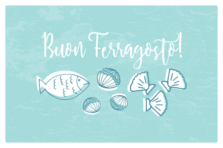 Buon Ferragosto italian summer holiday illustration with seafood doodles