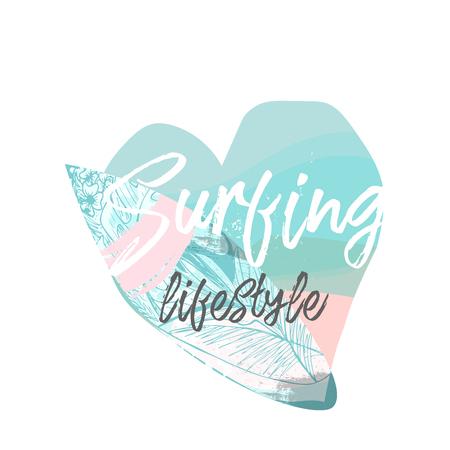 Collage di illustrazione estiva vettoriale carino con tavola da surf e testo calligrafico sulla forma marina dello sfondo del cuore. Bordo adesivo o cartello vintage tropicale estivo vecchio stile Vettoriali