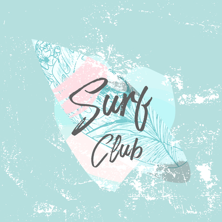 Vector lindo Ilustración de verano con tabla de surf y texto caligráfico en forma de paisaje marino de fondo de corazón. Frontera de etiqueta o cartel de moda antigua de verano tropical