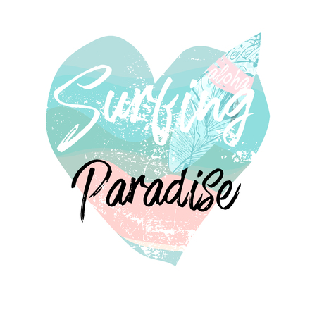 Cute vector Summer illustration collage with surf board and calligraphic text on seascaped shape of heart background. Tropical summer old fashionedl sticker or sign border Ilustração
