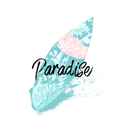 Vector lindo Collage de ilustración de verano con tabla de surf y texto caligráfico en forma de paisaje marino de fondo de corazón. Verano tropical Ilustración de vector