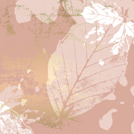 Autumn foliage rose gold blush background. Chic trendy print with botanical motifs