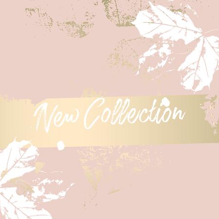 Autumn collection trendy chic gold blush background for social media, advertising, banner, invitation card, wedding, fashion header Vektorové ilustrace
