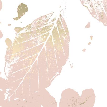Het herfstgebladerte nam gouden blos achtergrond toe. Chique trendy print met botanische motieven