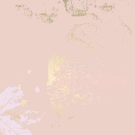 Fondo de rubor de oro rosa de follaje de otoño. Elegante estampado de moda con motivos botánicos