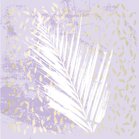 Trendy Chic Pastel colored background with Gold Foil shapes and painted palm leaf silhouettes. Abstract unusual textures for wallpaper, greeting cards, headers, decoration elements. Vector