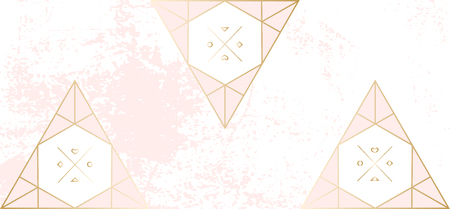 Trendy Chic pastel colored background with Gold geometric shapes. Abstract unusual worn textures for wedding invitation cards, business cards, fashion headers, posters, artistic backgrounds. Vector Illustration