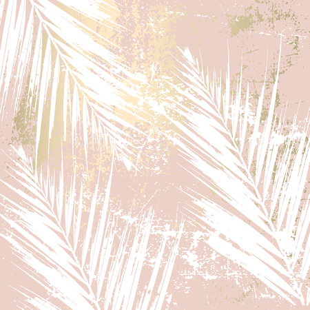 Jesienne liście streszczenie tło rumieniec różowe złoto. Szykowny, modny nadruk z motywami roślinnymi Ilustracje wektorowe
