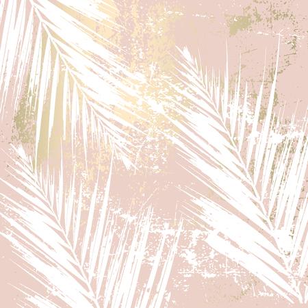 Otoño follaje abstracto fondo de rubor de oro rosa. Elegante estampado de moda con motivos botánicos Ilustración de vector