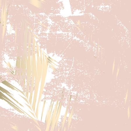 Feuillage abstrait automne fond de blush or rose Imprimé tendance chic avec des motifs botaniques