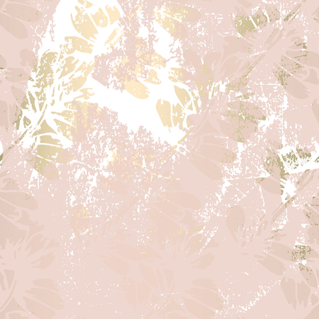 Floral abstract foil gold blush patina background. Chic trendy print with botanical motifs Archivio Fotografico - 112185401