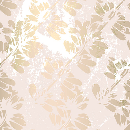 Floral abstract foil gold blush patina background. Chic trendy print with botanical motifs Vetores