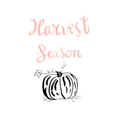 Harvest Season Hand Drawn lettering text with sketched apple wreath on pastel ink texture background. Harvest autumn concept. Vector Illustration
