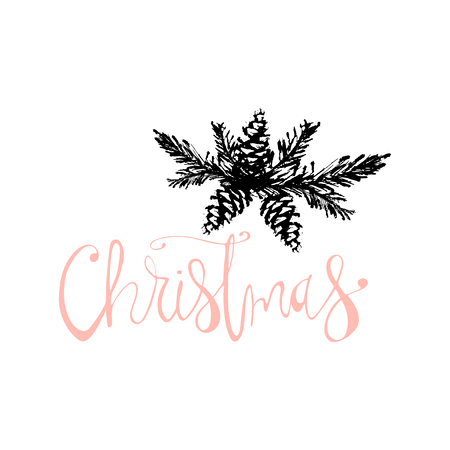 Merry Christmas Hand Drawn christmas tree branch and lettering isolated on white. Cute xmas holiday background for postcards, invitations, greeting cards, banners, posters, etc. Made in vector