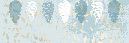 Christmas tree cone painting vector textures. Trendy Pastel blue white gold botanical winter pattern Illustration