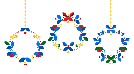 Merry Christmas, Happy New Year card design. Abstract flat xmas wreath traditional winter holidays decoration. Elegant design for greeting cards, postcards, invitation cards, gift tags. Vector