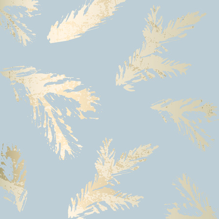 Fond de couleur pastel chic à la mode avec des formes de feuille d'or et des silhouettes d'arbres de Noël peintes. Textures inhabituelles abstraites pour papier peint, cartes de voeux, en-têtes, éléments de décoration. Vecteur