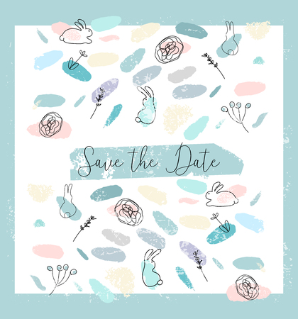 Save the Date abstract soft design witn different hand drawn textures. Cute minimal floral and animal decoration elements