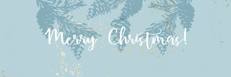 Christmas tree cone painting vector textures. Trendy Pastel blue white gold botanical winter pattern 向量圖像