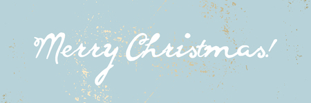 Merry Christmas cute calligraphic white text vector cute calligraphy banner, header or poster. Blue pastel gold rough textured background.
