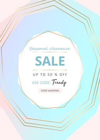 Trendy minimal chic geometric gradient background with gold abstract frames. Creative layout for advertising, banners, invitations, business cards, wedding templates, fashion header, web, social media