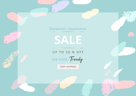 Trendy Sale Banner Design with different hand drawn confetti organic shapes and textures. Social Media Cute backdrop for advertising, web design, posters, invitations, greeting cards, birthday, anniversary