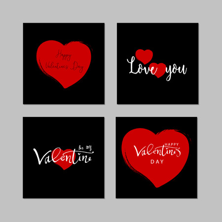 Romantic Collection of Cute Hand Drawn Abstract Valentine s Day Cards. Trendy backgrounds for greeting cards, headers, invitations, gift paper, posterts, banners, brochures, web. Vector Illustrations