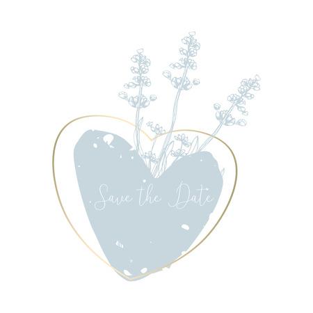 Hand drawn lavender flowers with elegant gold frame. Pastel soft blue brush background. Vector decoration element Ilustração