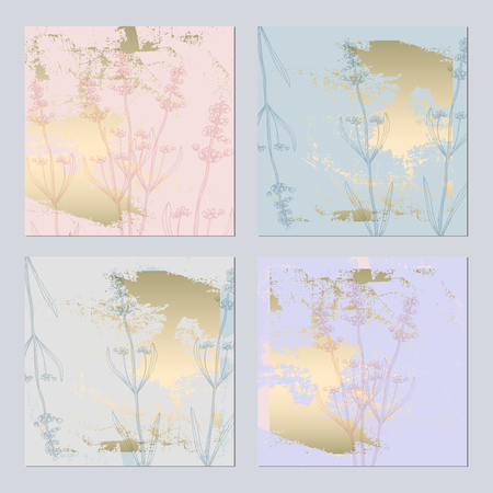 Set of Trendy Elegant pastel blue Gold Cards for wedding invitations, greeting card, banner, birthday, advertising, valentine s day, party. Chic background for your design made in vector