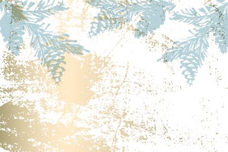 Christmas tree cone painting vector textures. Trendy Pastel blue white gold botanical winter pattern Ilustração