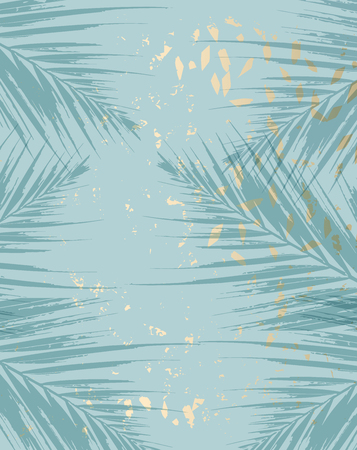 Trendy chic pattern in tropical style and gold dust confetti texture for advertising, wedding invitation design, wallpaper, anniversary, postcard, greeting cards