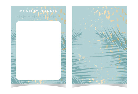 Trendy chic feminine template of Monthly Planner in tropical style and gold dust textured background Ilustração