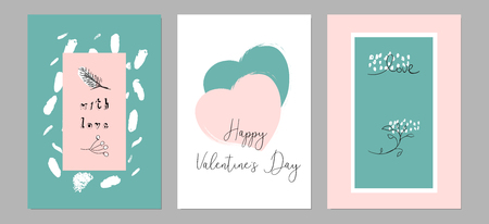 Lovely Abstract Hand Drawn Greeting Cards with traditional symbols of Valentine s Day. Cute cartoon gentle background for invitations, gift tag, wrapping, anniversary, Valentine s days party, wedding