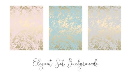Eleganter Satz schicker, trendiger, abstrakter Marmor-Gold-Luxus-Texturen. Schöne Hintergründe für Werbung, Poster, Einladungen, Tapeten, Textilien, Typografie